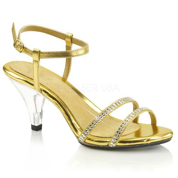 Klassische Sandalette mit strassbesetzten Riemchen gold Kunstleder BELLE-316